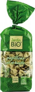 Pates papillon bio ail basilic Jardin Bio