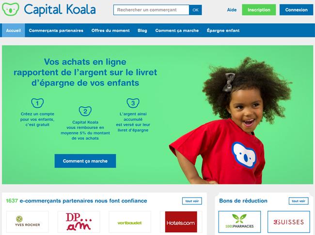 Site Capital Koala, vos achats rapportent de l'argent à vos enfants