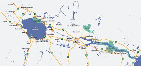 Carte région Saguenay-lac-Saint-Jean