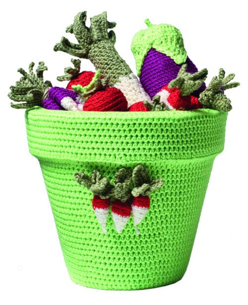 Cache-pot et légumes en crochet