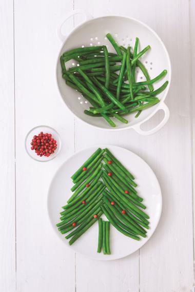 Faire manger des légumes aux enfants : sapin de haricots verts