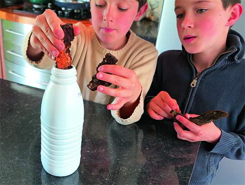 Introduire lambeaux d'écorce dans la bouteille