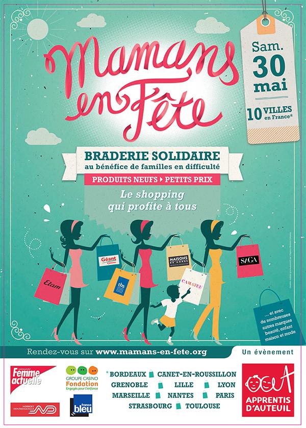 affiche braderie solidaire Mamans en fête 2015