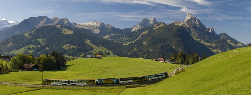 train panoramique pour arriver à Gstaad