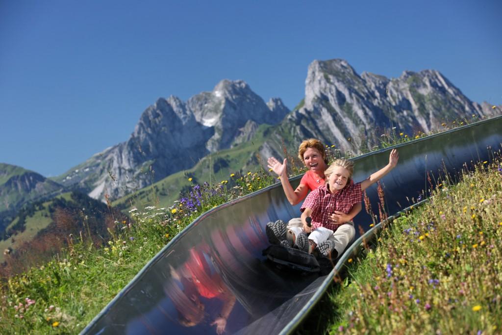 luge d'été au sommet du Rellerli à Gstaad