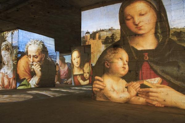 Spectacle des Carrieres de Lumieres 2015 Michel-Ange_Leonard de Vinci_ Raphael_Les Geants de la Renaissance_copyright G_Iannuzzi_M_ Siccardi_G_Napoleoni_Culturespaces_4