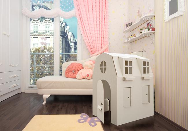 Maison de poupée en carton Ma Petite Parisienne dans chambre de petit fille