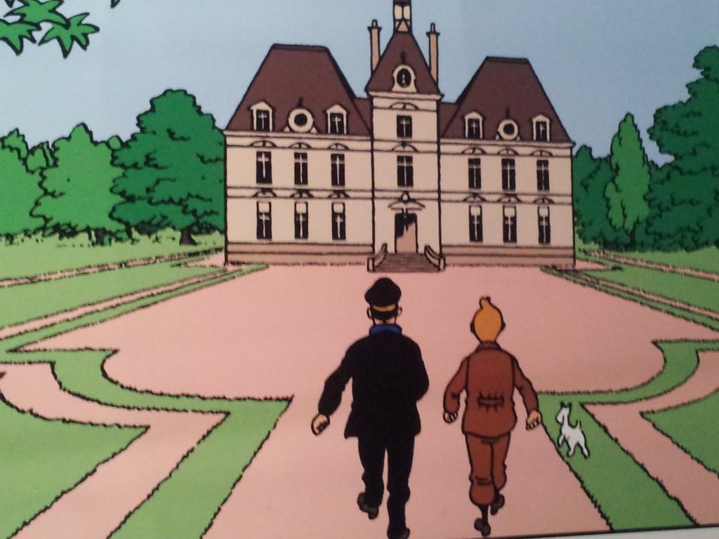 vignette extraite d'un album de Tintin avec le château de Moulinsart