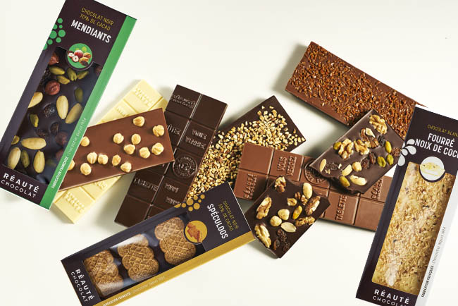 Assortiment de tablettes de chocolats Réauté Chocolat
