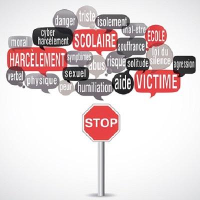 nuage de mots : harclement scolaire panneau Stop