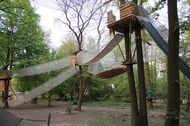 Piscine à balles suspendue dans les arbres à Sherwood Parc