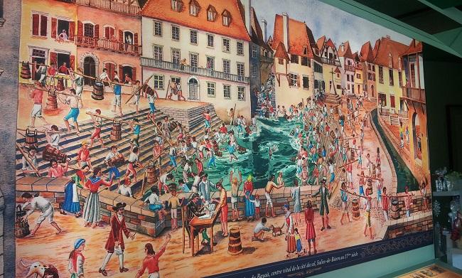 Tableau illustrant la récolte du sel au Moyen Age à Salies-de-Béarn au Musée du Sel