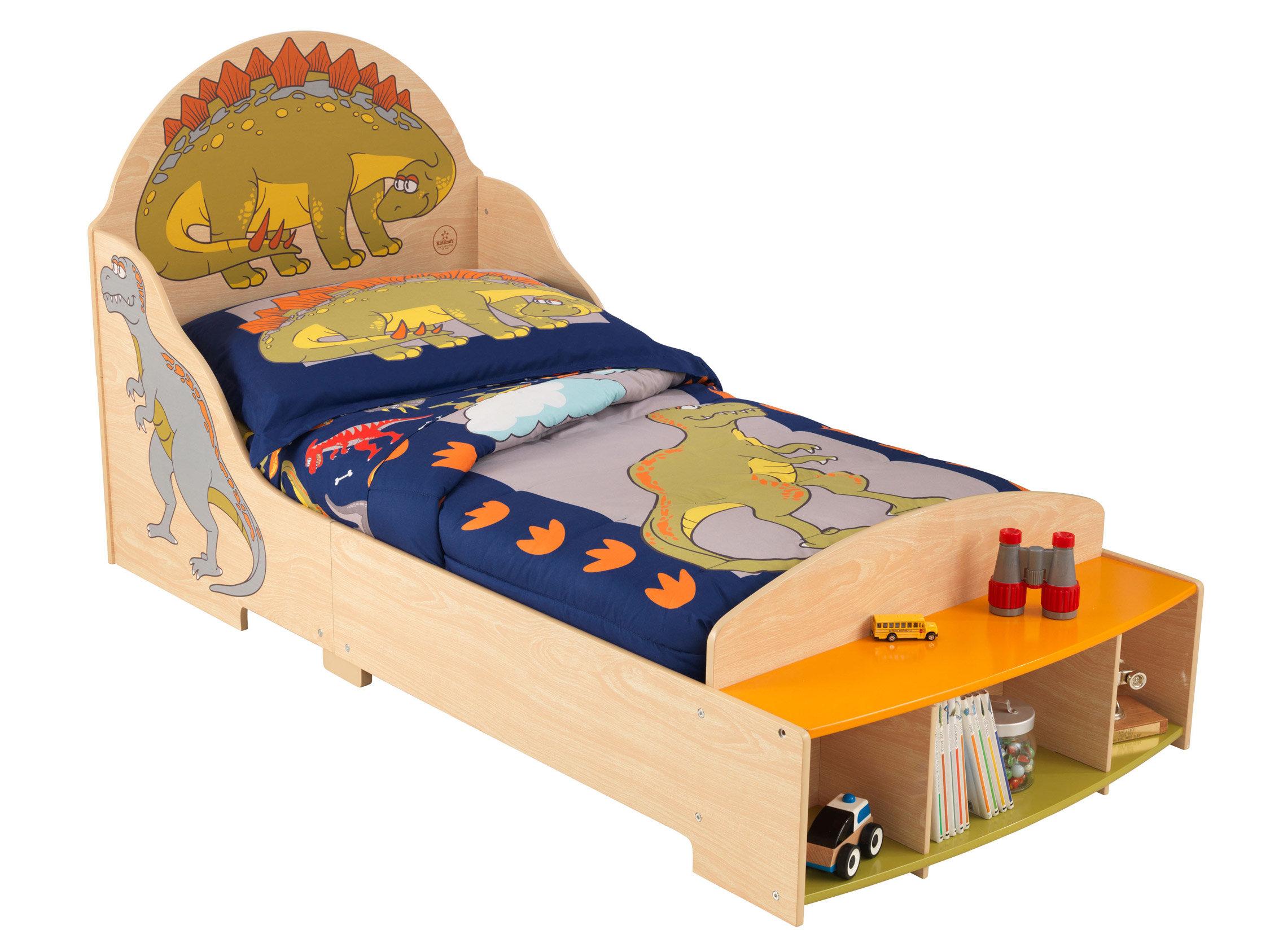 Lit en bois motif dinosaures pour enfant