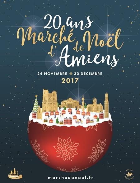 Affiche marché de Noël Amiens 2017