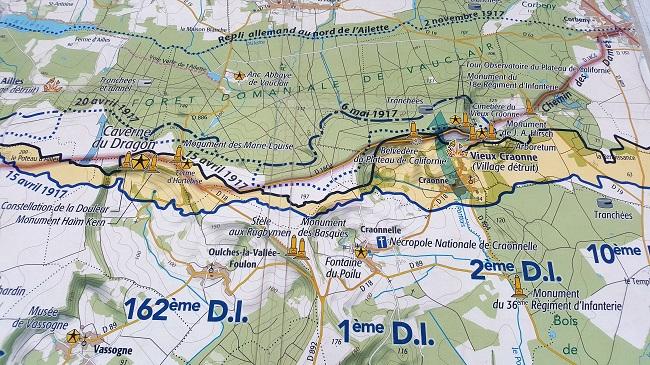 carte du Chemin des dames