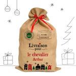 Des sacs de Noël personnalisés en toile de jute