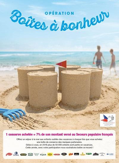 """Affiche de l'opération """"Boîtes à bonheur"""" Carrefour et Secours Populaire"""