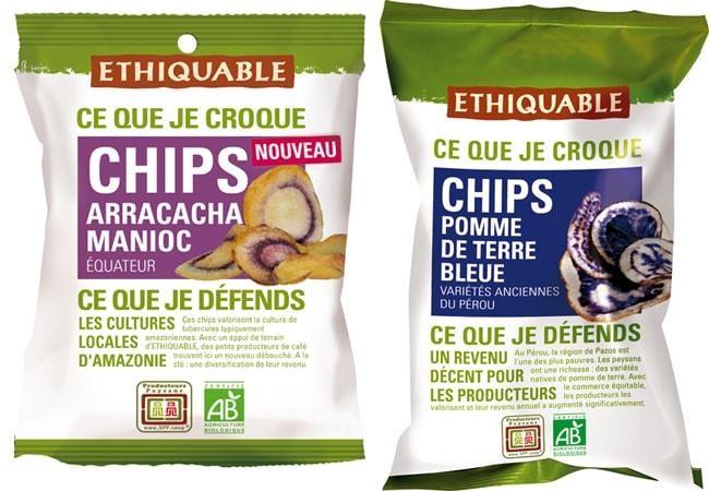 Chips de manioc et chips de pomme de terre bleue Etiquable
