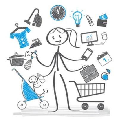 Illustration maman débordée avec mille tâches
