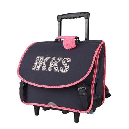 Sac à roulettes IKKS fille bleu et rose