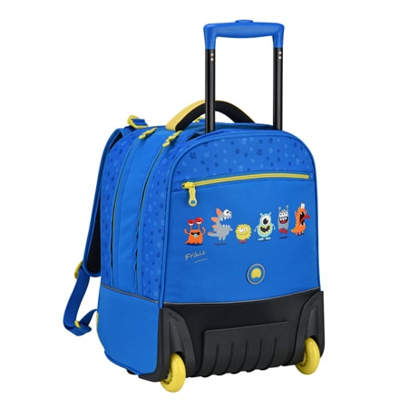 Cartable roulettes Delsey bleu monstre