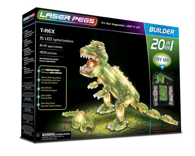 T-rex à construire en briques lumineuses laser pegs