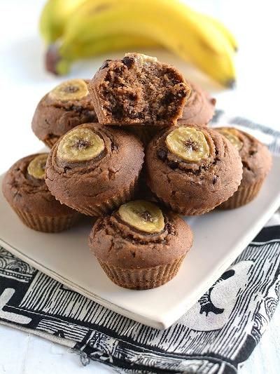 Muffins aux peaux de bananes et pépites de chocolat