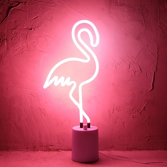 lampe néon flamand rose