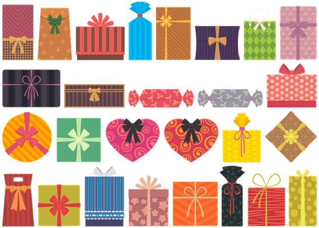 illustration panel de joli paquets cadeaux colorés