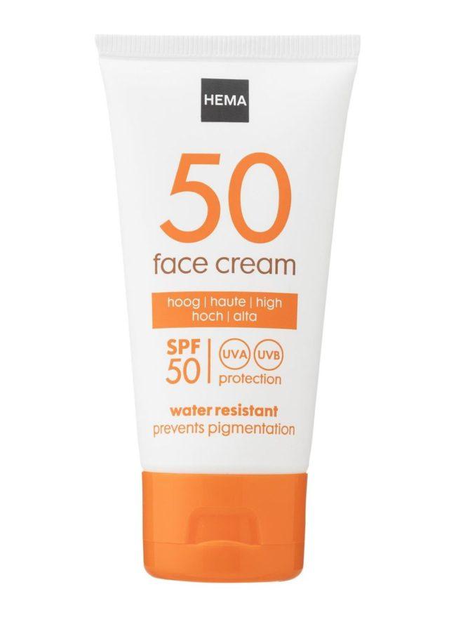 Crème solaire visage SPF50 Hema