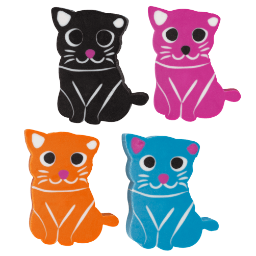 Set de 4 gommes chat