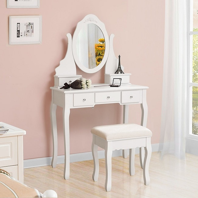 meuble coiffeuse blanc