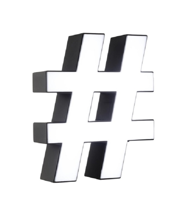 panneau lumineux hashtag
