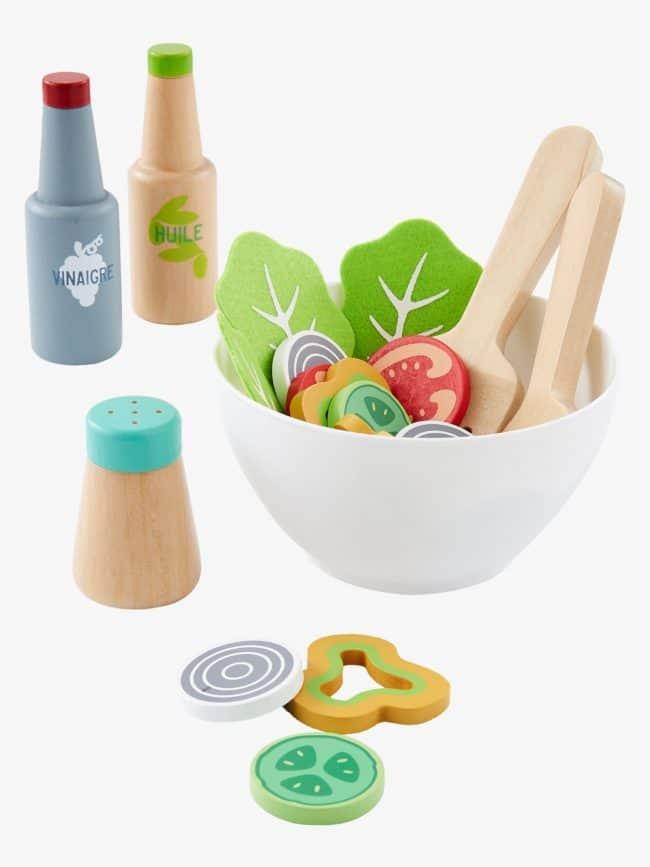 set de salade en bois enfant