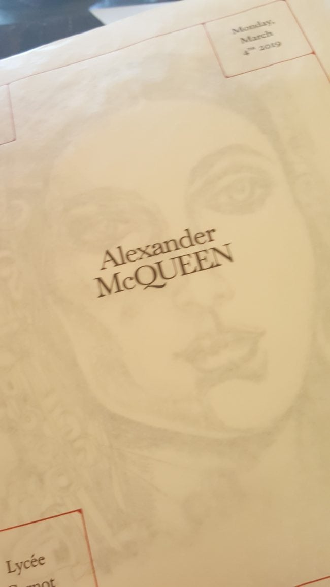 lithographie invitation Alexander McQueen