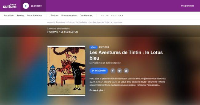 podcast des aventures de Tintin