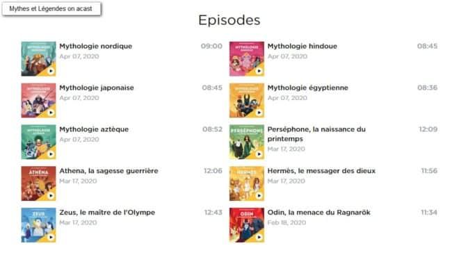 Quelle Histoire podcast Mythes et Légendes
