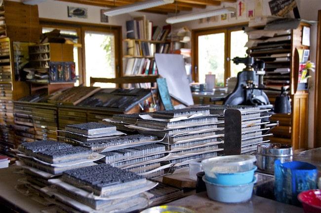 L'Yonne en famille, découvrir  le métier d'imprimeur au Centre d'Art Graphique de la Métairie Bruyère à Parly