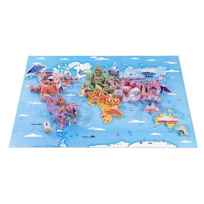 """Puzzle carton géant """"Curiosités et merveilles du monde"""", Janod"""