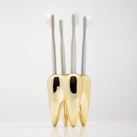 porte brosses à dents dent en or