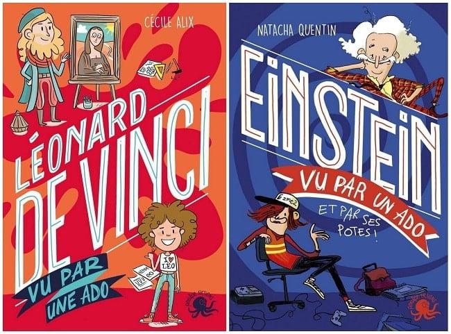 Collection 100 % ados chez Poulpe Fictions, Léonard de Vinci et Einstein