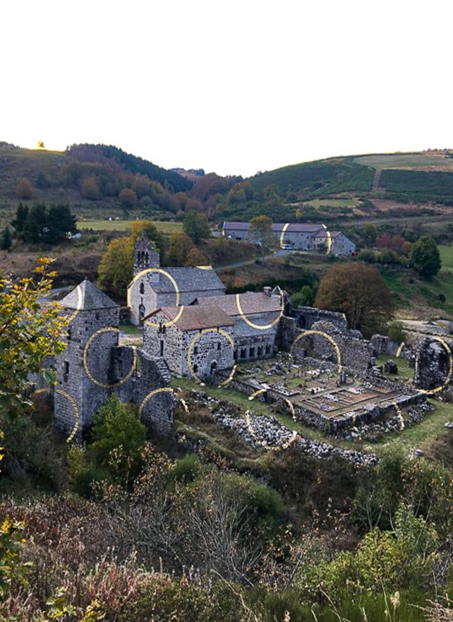 Partage des eaux, parcours art contemporain Parc naturel d'Ardèche, Abbaye de Mazan