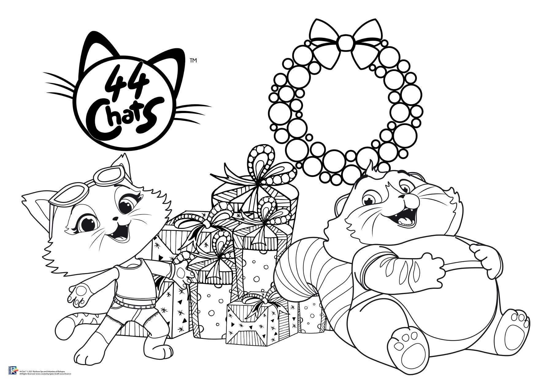 44 cats coloriage noel