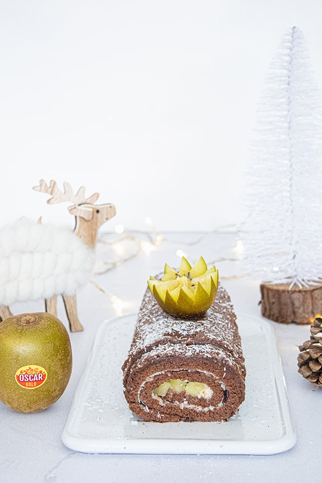 recette buche de noel chocolat kiwi