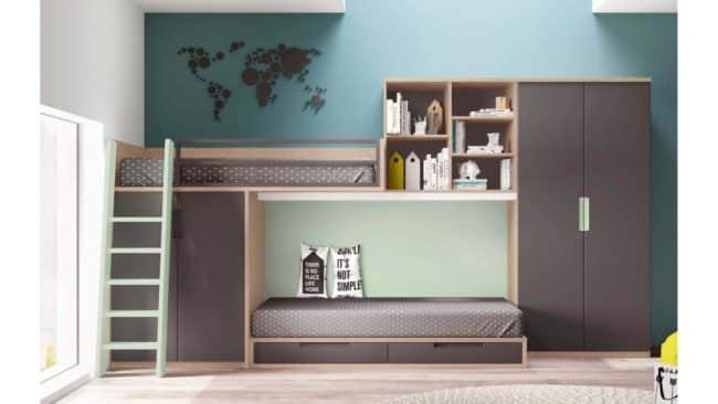 chambre deux ados lits superposés