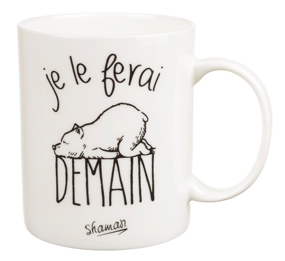 "mug à message ""je le ferai demain"""
