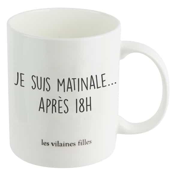"""mug à message """"je suis matinale après 18h"""""""