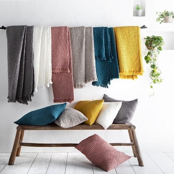 plaids en coton nid d'abeille couleurs