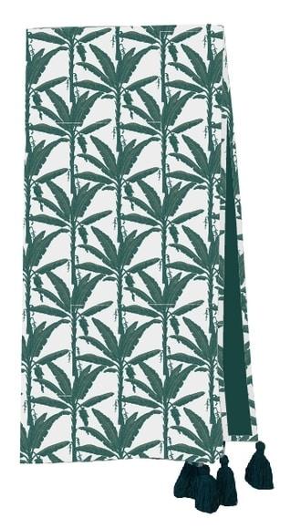 plaid en velours motif feuilles