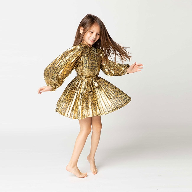 robe de fête fille dorée